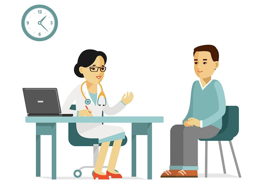 Digital Drawing Of A Doctor At A Desk In Front Of A Laptop Explaining Something To A Seated Patient