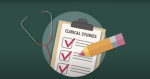 Checklist On Clipboard That Says Clinical Studies Next To Stethoscope And Pencil